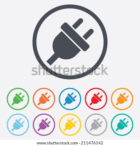 Electric plug sign icon. Power energy symbol. Round circle buttons with frame. Vector - stock vector