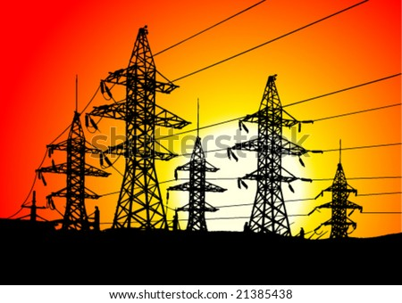 Electric power line over sunrise. - stock vector