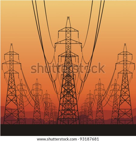 Electric power lines and sunrise, vector illustration - stock vector