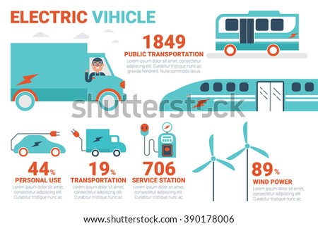 Electric power vehicle infographics concept illustration with icons - stock vector