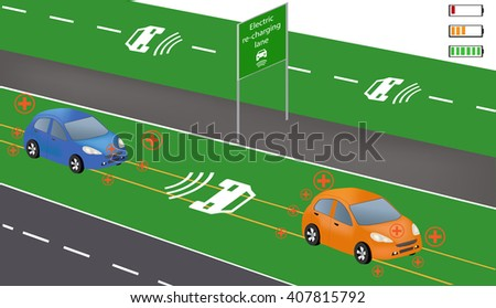 Electric re-charging lane Wireless charging System for electric vehicles. Charge while in motion. Smart car wireless charging. Electric vehicles on highway   - stock vector
