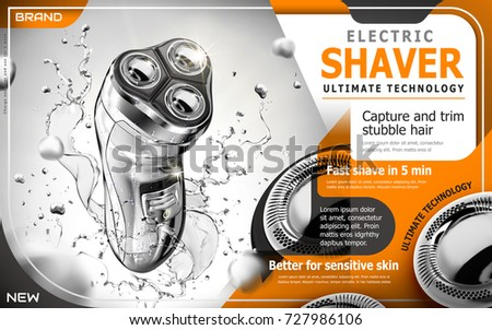 Electric shaver ads, silver shaver with splashing water and glitters in 3d illustration, orange tone