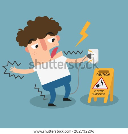 Electric shock risk caution sign. - stock vector