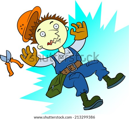 Electric shocked electrician - stock vector