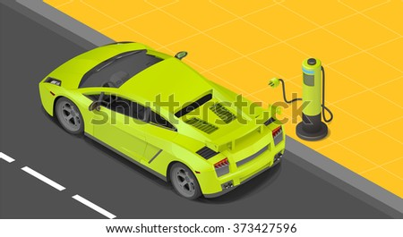 Electric sport coupe car charging station. power supply for Charging of an electric car. Recharging an electric car isometric view.  - stock vector