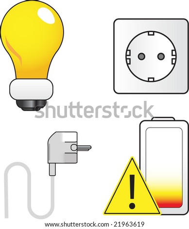 Electric themed set - stock vector