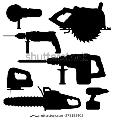 Electric Tools isolated icons on white background. Set. Vector illustration.