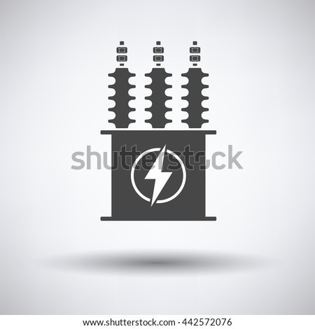 Electric transformer icon on gray background, round shadow. Vector illustration.