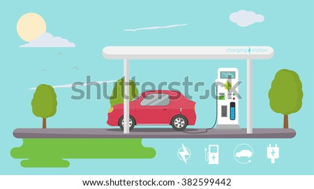Electric vehicle charging - stock vector