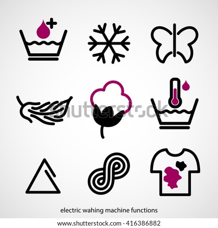 Electric washing machine function symbols - stock vector