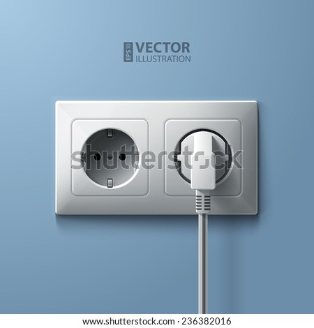 Electric white plug and socket on blue wall background. RGB EPS 10 vector illustration - stock vector