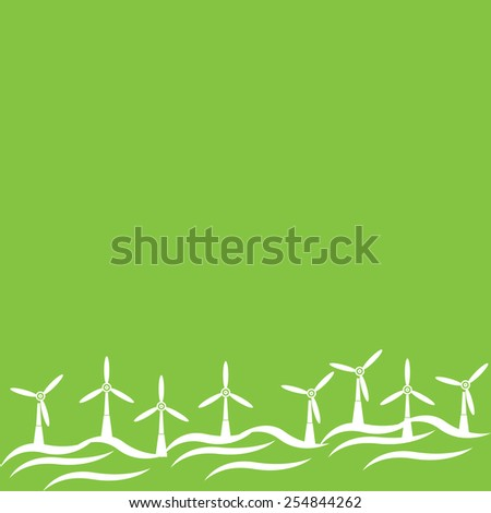 Electric Windmill Landscape - stock vector