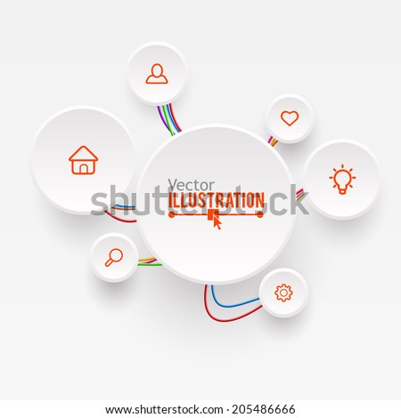 Electric Wire Line Business Infographic Design Template. Vector illustration. - stock vector