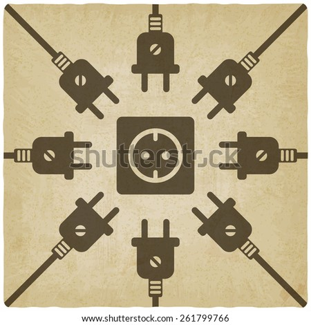 electric wire with plug old background - vector illustration. eps 10 - stock vector