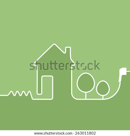 electric wire with plug showing house on a green background - stock vector