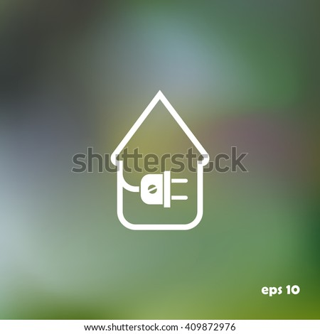 electric wire with plug showing house, vector - stock vector