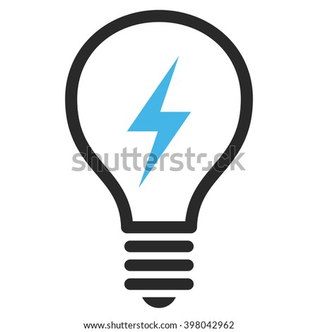 Electrical Bulb vector icon. Picture style is bicolor flat electric bulb icon drawn with blue and gray colors on a white background. - stock vector