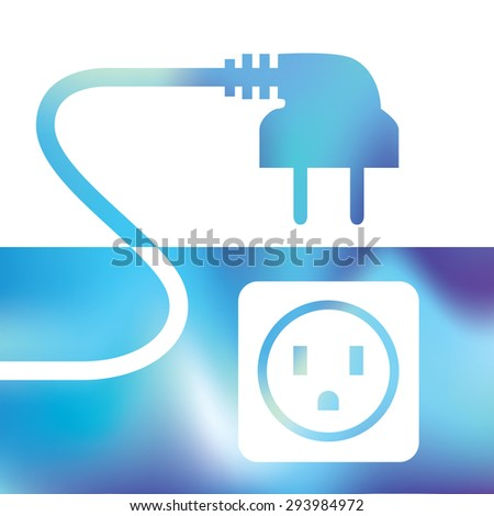 electrical connection - wire plug and socket - symbol electricity - stock vector