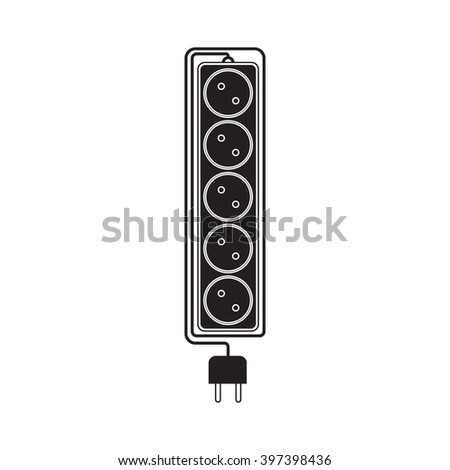 Electrical extension cord in a modern flat style. Electric surge protector icon, electric extension cable icon, electrical plug and electrical outlet. Five electrical outlets. Schematic image. Vector - stock vector