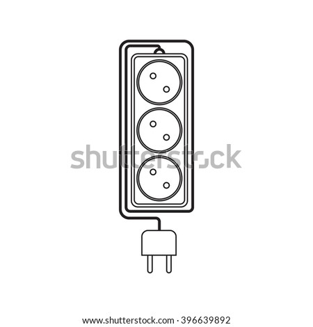 Electrical extension cord in a modern linear style. Electric surge protector icon, electric extension cable icon, electrical plug and electrical outlet. Three electrical sockets. Schematic image - stock vector