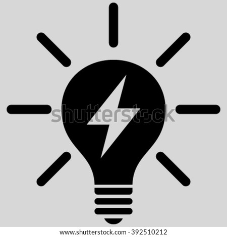 Electrical Light Bulb vector icon. Image style is flat electric light bulb pictogram symbol drawn with black color on a light gray background. - stock vector