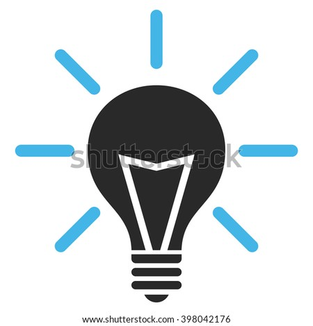 Electrical Light vector icon. Picture style is bicolor flat electric light icon drawn with blue and gray colors on a white background.