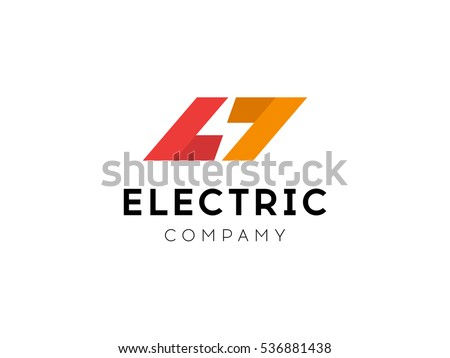 Electrical Logo Concept Lightning Bolt Minimal Stock Vector Royalty
