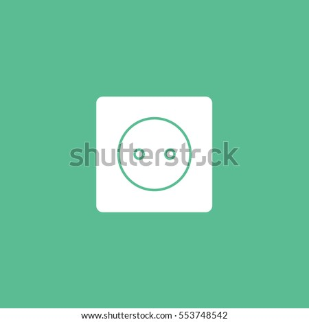 Electrical Outlet Flat Icon On Green Background