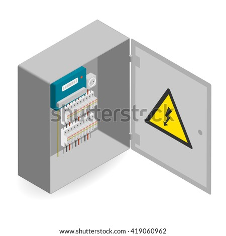 electrical panel, electric meter and circuit breakers. electric board abstract vector illustration. Isometric electric box, electric box vector. - stock vector