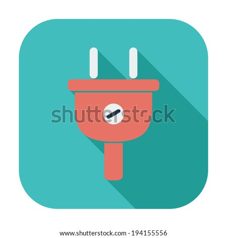 Electrical plug. Single flat color icon. Vector illustration. - stock vector