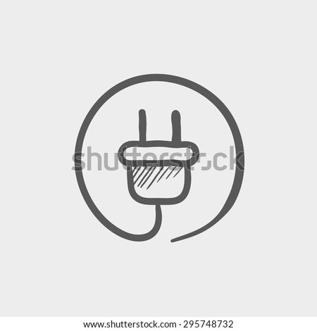 Electrical plug sketch icon for web and mobile. Hand drawn vector dark grey icon on light grey background. - stock vector