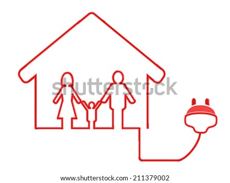 electrical plug symbol with family house - stock vector