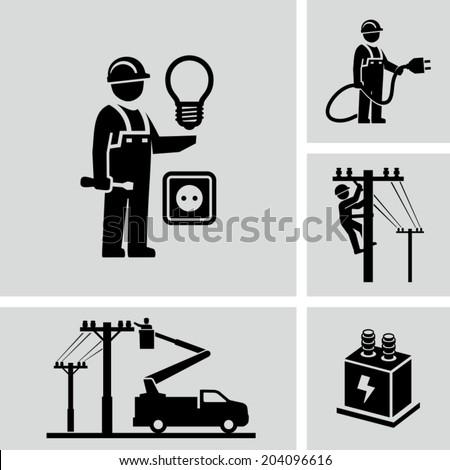 Electrician  - stock vector
