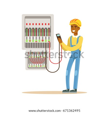stock vector electrician engineer measuring the voltage output in fuse box electric man performing electrical 671362495 electrician engineer measuring voltage output fuse stock vector Cartoon Spine Nerves at virtualis.co