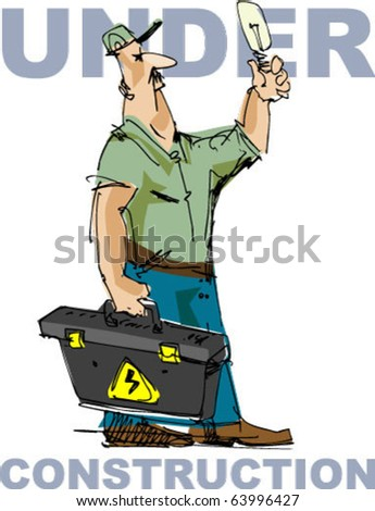 electrician - - handmade sketch - stock vector