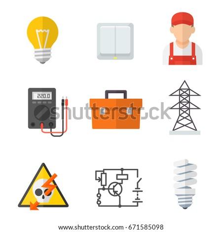 Electrician Industry Icon Cartoon Set Tradesperson Stock Vector ...