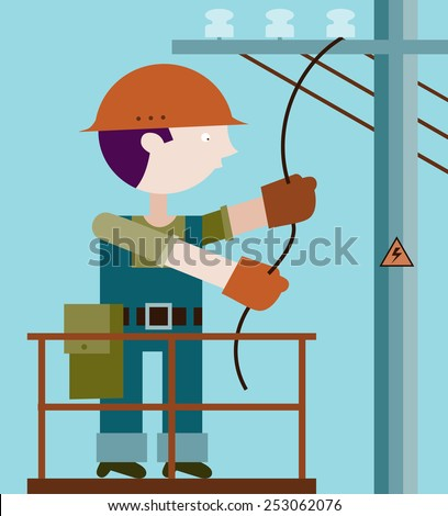 Electrician making repairs at a power pole - stock vector