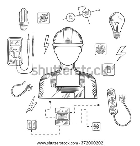 Electrician man in hard hat with electrical household supplies, electric tools and equipments symbols on dark blue background for profession or industry design. Vector sketch illustration - stock vector
