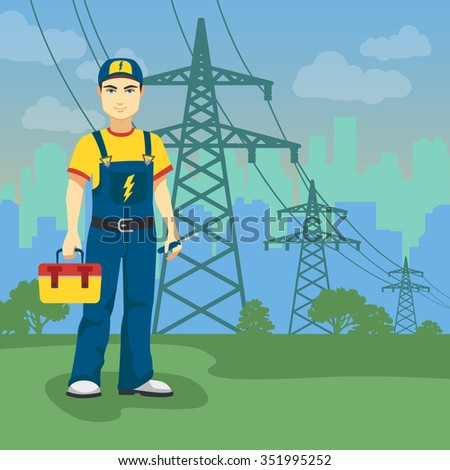 Electrician man near high-voltage power lines on the city shape background.  - stock vector