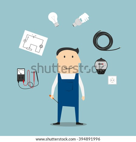 Electrician profession concept with worker encircled by energy saving and light bulbs, plug and socket, electricity meter and circuit breaker, multimeter - stock vector