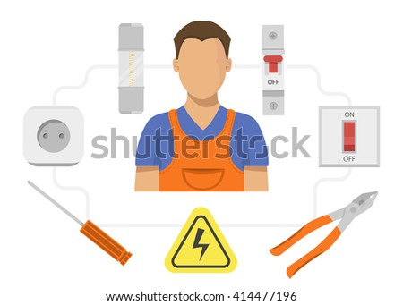 Electrician profession vector, Electrician icon, Electrician tools instruments  - stock vector