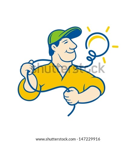 Electrician sign: man, professional, lamp, light, lighting. Vector Illustration. Branding Identity Corporate vector logo design template Isolated on a white background