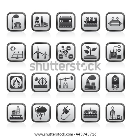 Electricity and Energy source icons - vector icon set - stock vector