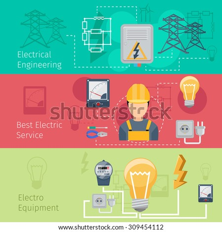 Electricity and power industry horizontal banners vector set. Cablec and energy, engineering plug, voltage and socket illustration - stock vector