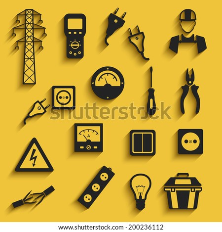 electricity black flat style icons set. template elements for web and mobile applications - stock vector