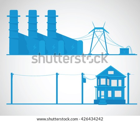 Electricity concept. Industrial vector illustration.