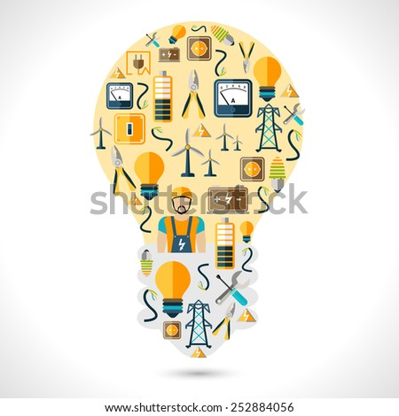 Electricity concept with energy and power generation symbols in lightbulb shape flat vector illustration - stock vector