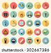 Electricity, construction, building, tools and repair vector flat style icons set - stock vector