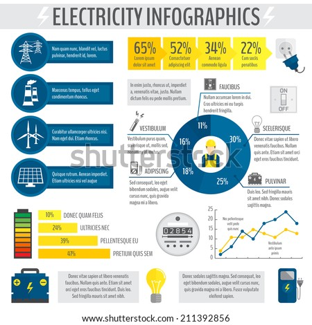 Electricity energy accumulator industry infographic template with charts graphs and diagrams vector illustration - stock vector