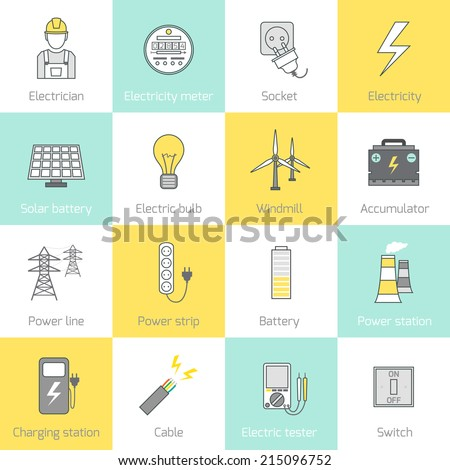 Electricity flat line icons set with socket solar battery windmill vector illustration - stock vector